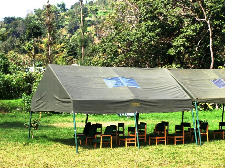 Sheltered open sided marquee – perfect for meetings, celebrations, eating etc. both during the day and at night with fitted lighting.